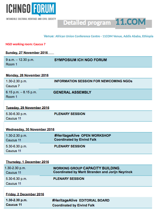 Revised time schedule for NGO meetings at 11.COM