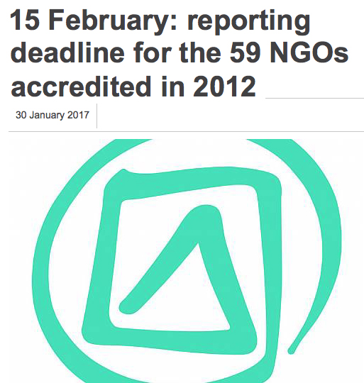 15 February: reporting deadline for the 59 NGOs accredited in 2012