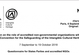 19 October: deadline for the electronic consultation on the role of accredited NGOs under the 2003 Convention