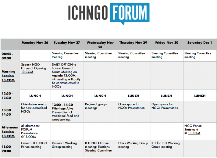 The ICH NGO Forum's activities at the 13th session of the Intergovernmental Committee