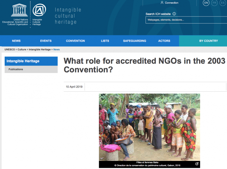 What role for accredited NGOs in the 2003 UNESCO Convention?