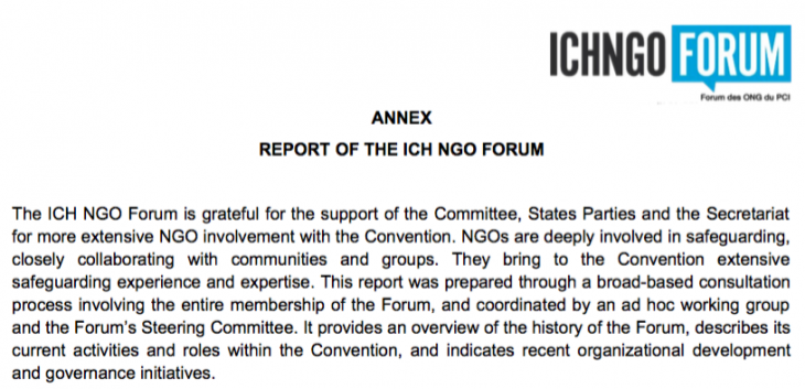 Report of the Ich Ngo Forum for 15COM