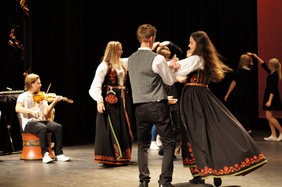 "Youth playing and dancing their local traditional couple dance springer from Telemark at the opening ceremony of ""Bygda Dansar"" (the countryside dances) in the county Telemark in 2013"