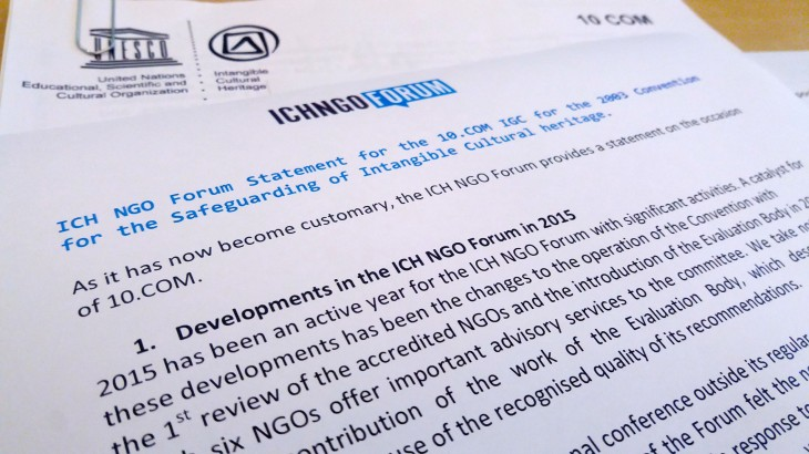 ICH NGO Forum Statement for the 10.COM