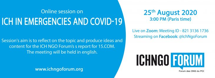ICH in emergencies and Covid-19: online session on 25th August