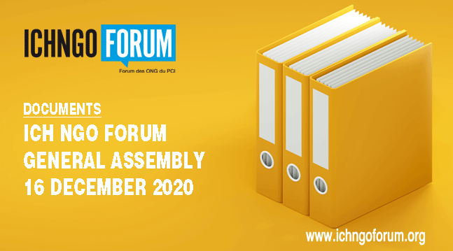 ICH NGO Forum General Assembly 2020 – 16 december 2020