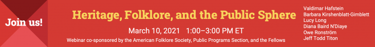 Heritage, Folklore and the Public Sphere – Webinar on March 10th